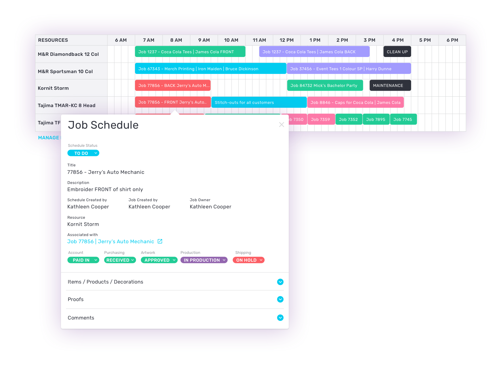 production schedule software